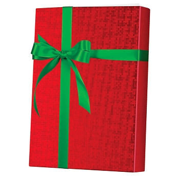 Red Spun Foil Gift Wrap
