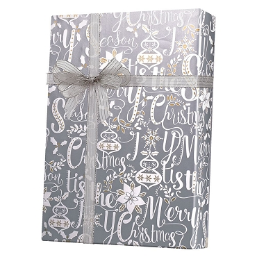Scripted Holiday Silver Gift Wrap