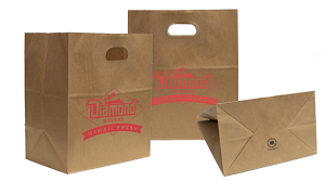 Take Out Bags  with Die Cut Handles