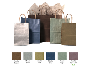 Silver Metallic Tint Natural Kraft  Paper Shopping Bags