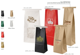 COFFEE BAGS - White Gloss - Red - Gold - Black - Green