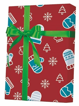 NEW ! - Mittens, Trees and Snow Gift Wrap