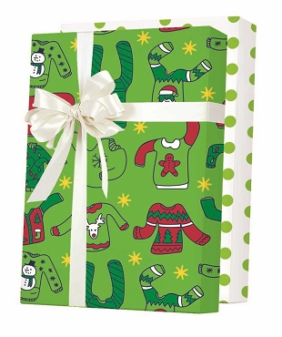 New ! - Ugly Christmas Sweater - Reversible Gift Wrap