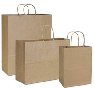 RECYCLED Natural Kraft  Paper Shopping Bags - 100% Recycled Fiber