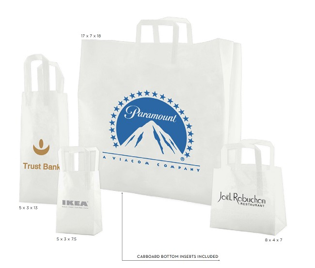 CLEAR FROSTED TRI-FOLD HANDLE BAGS